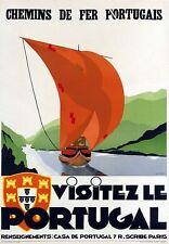 Vintage Portugal ferrocarriles cartel turístico A3 impresión