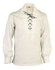 Bianco Stile Scozia Highland Giacobita Giacobino Ghillie Kilt Camicia