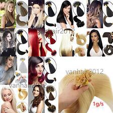 "16""-22"" 50s Pre Bonded Keratin Nail U Tip Glue Remy Human Hair Extensions 1G/S"