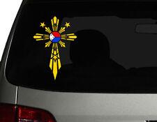 "Filipino Vinyl Car Decal Sticker 7.5""(H)  w/ Unique Cross #2 Philippine Flag"