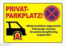 Privatparkplatz! - ALU oder PVC-Schild oder Klebeschild, Parkkralle, 3 Formate