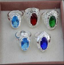 Wholesale Lots Fashion Jewelry 5PCS Crystal CZ Rhinestone 925 Silver Plate Ring