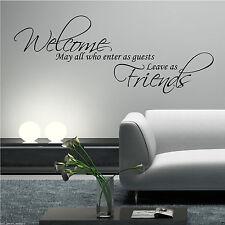 Bienvenue amis qui entrent mur Art Sticker Lounge Citation Décalcomanie Murale WSD601