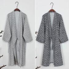 Men Kimono Yukata Casual Comfy Japanese Bathrobe Robe Gown Nightwear Loose Fit