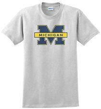 University of Michigan T-shirt. Ash, Khaki,White,Yellow Small - XXXL.100% Cotton