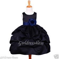 BLACK/NAVY BLUE PICK UP FORMAL BRIDAL FLOWER GIRL DRESS 6M 12M 18M 2 4 6 8 10 12