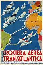 PLAQUE ALU DECO REPRO AFFICHE CROCIERA TRANSATLANTICA AVION PLANE BRASILE SAHARA