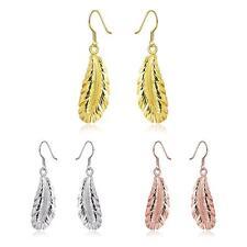 "Rose Gold Plated Earrings Drop Dangle Fish Hook Leaf 52"" L265"