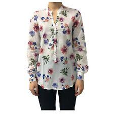 camisa de mujer en blanco/flores 100 % algodón mod D774E846L