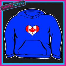 Canada Canada bandiera a forma di cuore amore Felpa con Cappuccio Tutte le Taglie e Colori