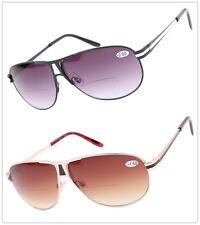 Unisex Pilot Bifocal Reading Glasses Gradient Sunglasses Sun readers +1.5 +2 +3