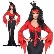Evil Queen Costume Womens Ladies Vampire Halloween Vamp Scary Fancy Dress S-L