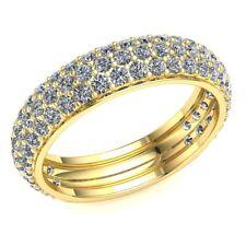 0.95ct Round Cut Diamond Ladies Three Row Pave Eternity With Sizing Bar 10k Gold