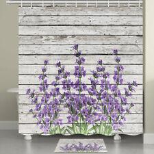 Purple Flowers on Vintage Wood Wall Fabric Shower Curtain Bathroom Waterproof