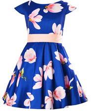 Mädchen Kleid Festlich Party Einschulung Hochzeit Blumenmädchen Blumen blau rosa