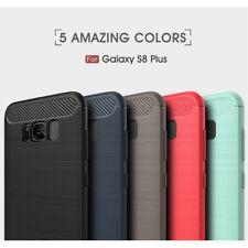Housse etui coque silicone carbone Samsung G955F Galaxy S8 Plus + verre trempe