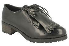 "SALE* Spot On F9818 Black Synthetic Hi Shine 2.5"" Block Casual/Work/School Shoes"