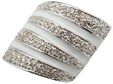 Zest Clear Swarovski Crystal & White Enamel Stripe Ring