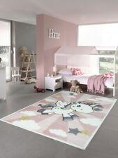 Kinderteppich Spielteppich Babyteppich Mädchen Einhorn Regenbogen rosa creme