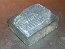 RARE Tampon ou plaque d'impression bois et plomb lit en fer