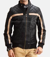 Men Leather Jacket Motorcycle Black Slim fit Biker Genuine lambskin jacket