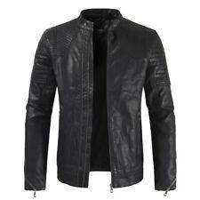 Men's Leather Jacket Stand Collar Motorcycle Biker Slim Fit Coat Short Overcoat
