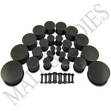 "V093 Black Acrylic Single Flare Ear Plugs 10G ~ 2"" MallGoodies 2.5 ~ 50mm 1 Pair"