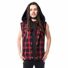 Vixxsin eetu Camisa Mens Negro Rojo Check Gótico Emo Punk