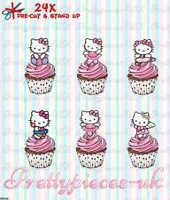Hello Kitty 24 Stand-Up Taza de papel de oblea de pre-cortado Cake Toppers