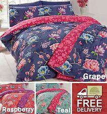 Floral Reversible Quilt Duvet Cover P/case Bedding Bed Set Polycotton 3 Sizes