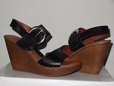 B.O.C BORN CONCEPT ALONDRA  Black Leather Buckle High Heel Platform Wedge