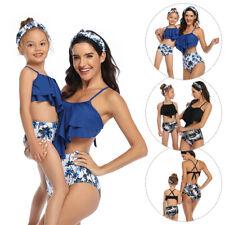 Family Matching Swimsuit Mother Daughter Women Girl Bikini Leaf Flower Swimwear