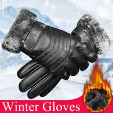Men Women Leather Winter Warm Gloves Windproof Waterproof Thermal Touch Screen