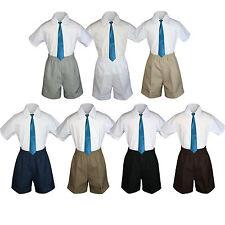 3pc Baby Boys Toddler Formal Blue Teal tie,Gray Brown Black D.Khaki Shorts Set