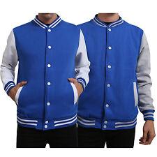 NE PEOPLE Mens Classic Plain Color Block Button Baseball Varsity Jacket  NEMJ16