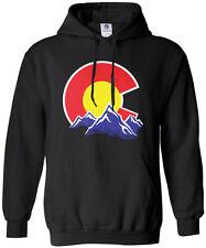 Threadrock Men's Colorado Mountain Hoodie Sweatshirt state denver