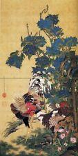 Tile Mural Japanese cock birds by I. Jakuchu Kitchen Backsplash Marble Ceramic