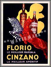 Cinzano Florio Marsala 1930 Aperitif Vintage Poster Print Liquor Wine Zebras
