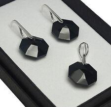 925 pendientes de plata/Set Jet 14 mm Octagon cristales de Swarovski ®