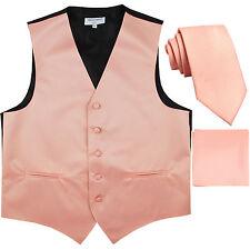 """New Men's Mauve Pink vest Tuxedo Waistcoat_2.5"""" necktie & hankie set wedding"""
