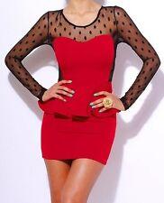 Red/Black Sweetheart Dot Lace Peplum Apron Skirted Long Sleeve Mini Dress S/M/L