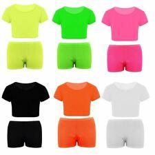 Childrens Micro Fiber Hot Pant Crop Top Kids Summer Beach Party Wear Top Set