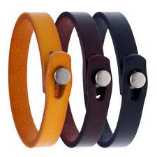 Fashion Men Genuine Leather Bracelet Bangle Wristband Wrap Cuff Simple Clasp