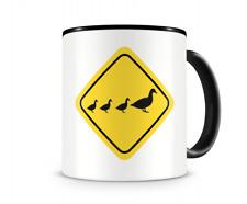 Enten Warnschild Tasse Kaffeetasse Teetasse Kaffeepott Kaffeebecher Becher