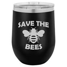 Stemless Wine Tumbler Coffee Travel Mug Glass Save The Bees
