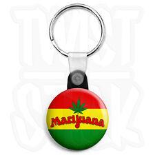 Marijuana Rasta Flag - 25mm Smoke Cannabis Keyring Button Badge, Zip Pull Option