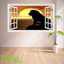 LION SUNSET Muro Adesivo Con Finestra Full Colour-LOUNGE Wall Art w35