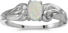 10k White Gold Oval Opal Ring (CM-RM1037W-10)