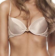 New Sexy Gossard Superboost Womens Plunge Underwired Soft Satin Bra Nude BNWT