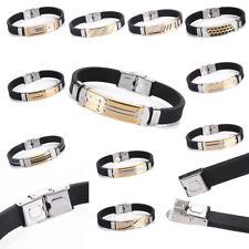 Wristband Cuff Bangle Bracelet Jewelry Unisex Men Punk Stainless Steel Rubber